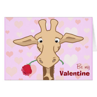 Cute Giraffe & Rose Valentine Card