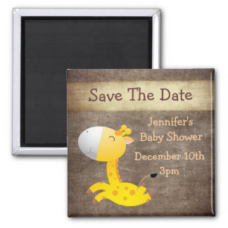 Cute Giraffe Save The Date Baby Shower Square Magnet