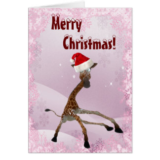 Cute Giraffe Slipping in the Snow Christmas Card