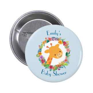 Cute Giraffe with a Floral Wreath Baby Shower 6 Cm Round Badge