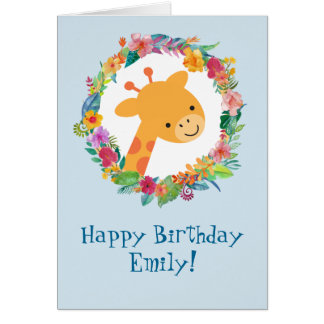 Cute Giraffe with a Floral Wreath Birthday Card