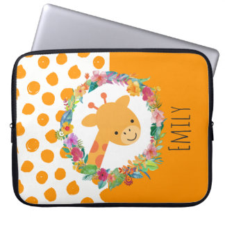 Cute Giraffe with a Floral Wreath Personalized Laptop Sleeve