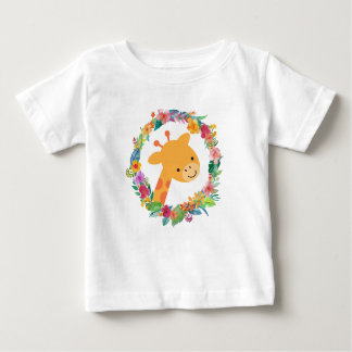 Cute Giraffe with a Watercolor Floral Wreath Baby T-Shirt