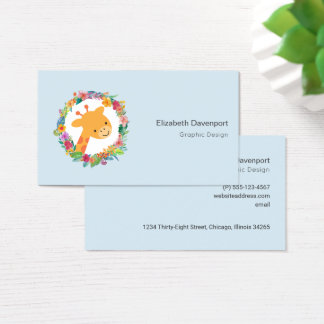 Cute Giraffe with a Watercolor Floral Wreath Business Card