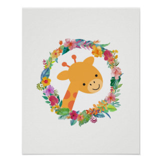 Cute Giraffe with a Watercolor Floral Wreath Poster