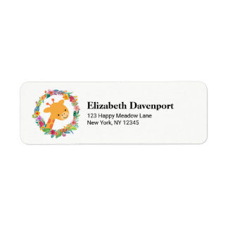 Cute Giraffe with a Watercolor Floral Wreath Return Address Label