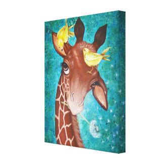 Cute Giraffe with Birds Canvas Print