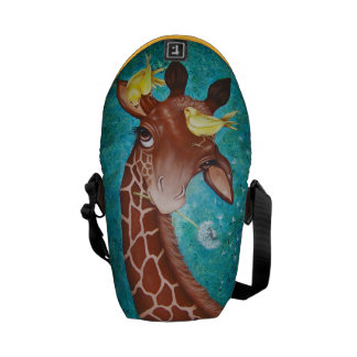 Cute Giraffe with Birds Courier Bags