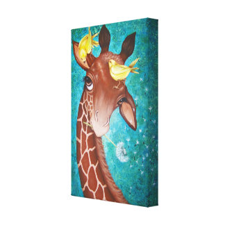 Cute Giraffe with Birds Painting Canvas Print