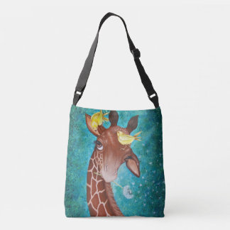 Cute Giraffe with Birds Painting Crossbody Bag