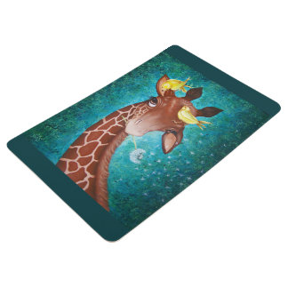 Cute Giraffe with Birds Painting Floor Mat