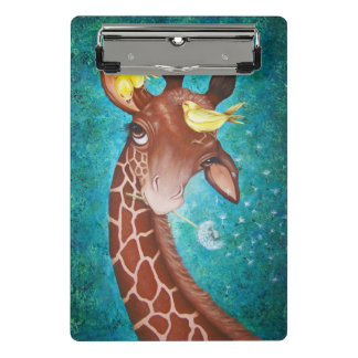 Cute Giraffe with Birds Painting Mini Clipboard