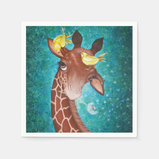 Cute Giraffe with Birds Paper Napkin