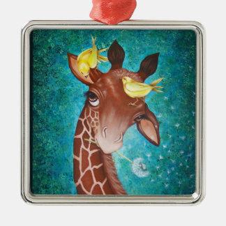 Cute Giraffe with Birds Silver-Colored Square Decoration