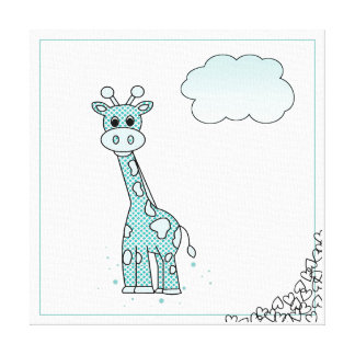 Cute Giraffe with Hearts and Clouds Canvas Print