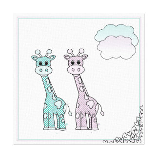 Cute Giraffes with Hearts and Clouds Canvas Print