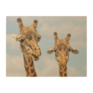 Cute giraffes wood wall art