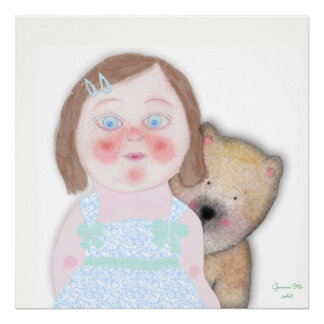 Cute girl art Illustration by Gemma Orte Designs. Poster