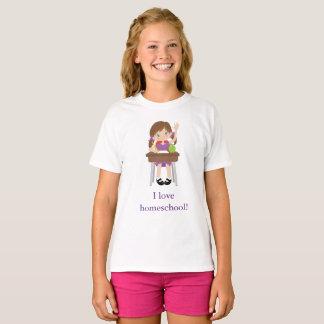 Cute girl at her desk I love homeschool! T-Shirt