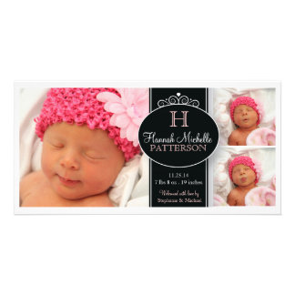 Cute Girl Baby Photo Monogram  Birth Announcement Photo Greeting Card