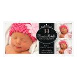 Cute Girl Baby Photo Monogram  Birth Announcement Photo Greeting Card