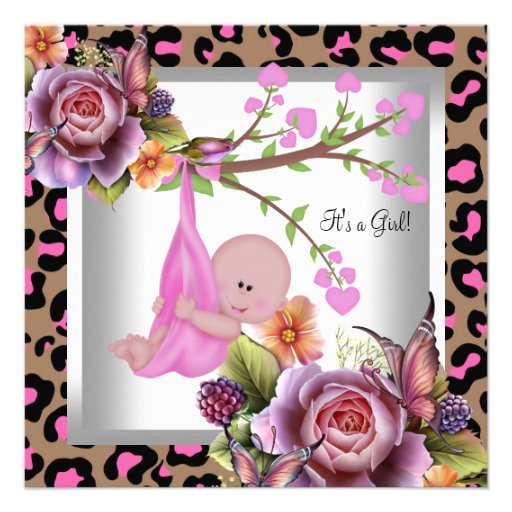 Cute Girl Baby Shower Girl Pink Wild Child Leopard Announcement