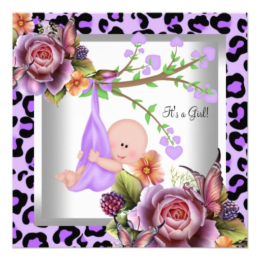 Cute Girl Baby Shower Purple Wild Child Leopard Personalized Announcement