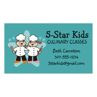 Cute girl boy chef kids cooking classes 5 star pack of standard business cards