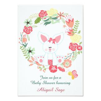 Cute Girl Bunny and Flower Wreath Baby Shower Card