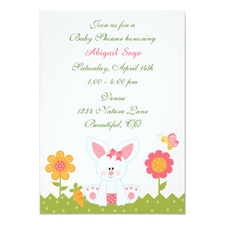 Cute Girl Bunny and Flowers Baby Shower Invitation