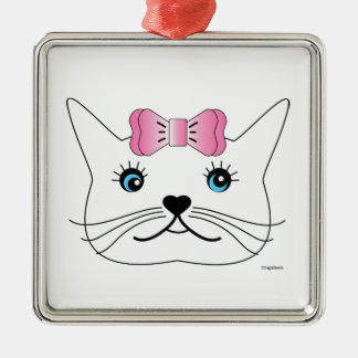 Cute-Girl-Cat-with-Pink-Bow Metal Ornament