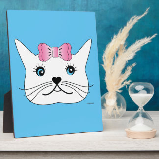 Cute-Girl-Cat-with-Pink-Bow Plaque