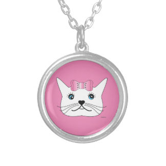 Cute-Girl-Cat-with-Pink-Bow Silver Plated Necklace