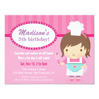 Cute Girl Chef Cooking Baking Birthday Party Card