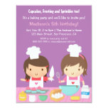 Cute Girl Chef Cupcake Baking Birthday Party 11 Cm X 14 Cm Invitation Card