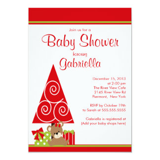 Cute Girl  Christmas Holiday Winter Baby Shower Card