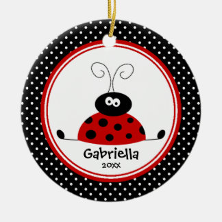 Cute Girl Christmas Ornament Ladybug