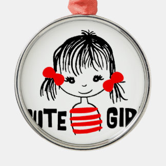 cute girl, cool design Silver-Colored round decoration