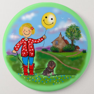 "'""Cute girl"" Dachshund smiley face. 6 Cm Round Badge"