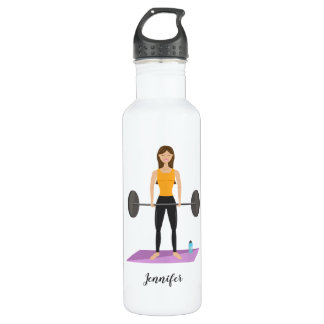 Cute Girl Doing Deadlift With Weights Custom Name 710 Ml Water Bottle