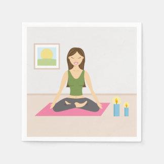 Cute Girl Doing Yoga In A Pretty Room Disposable Serviette