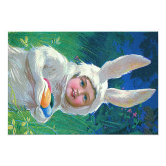 Cute Girl Easter Bunny Costume Field Photo
