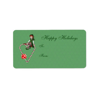 Cute Girl Elf Candy Cane Heart Holiday Gift Tag Address Label