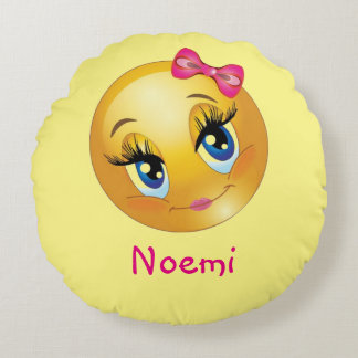 "Cute Girl Emoji Round Throw Pillow (16"")"