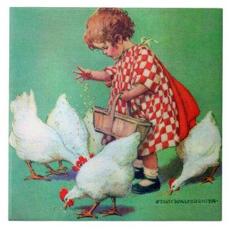 Cute Girl Feeding Hens by Jessie Willcox Smith Ceramic Tile