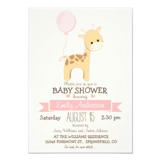 Cute Girl Giraffe, Jungle Zoo Animal Baby Shower 13 Cm X 18 Cm Invitation Card