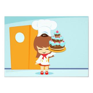 Cute Girl holding Chocolate Birthday Cake Custom Invite
