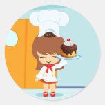Cute Girl holding Chocolate Birthday Cake Round Sticker