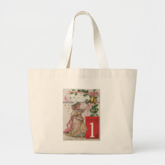 Cute Girl Holly Wreath Bell Jumbo Tote Bag