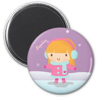 Cute Girl Ice Skater For Kids Magnets